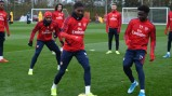The boys train ahead of Leicester clash